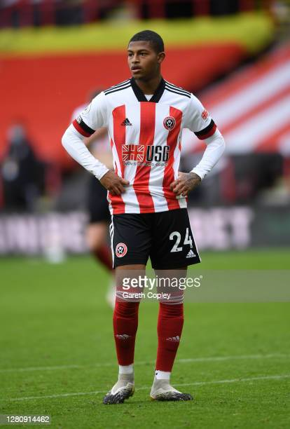 Rhian Brewster of Sheffield United during the Premier League match between Sheffield United and Fulham at Bramall Lane on October 18, 2020 in...