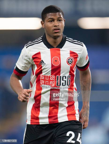 Rhian Brewster of Sheffield United during the Premier League match between Chelsea and Sheffield United at Stamford Bridge on November 07, 2020 in...