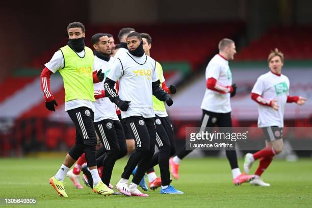 Rhian Brewster of Sheffield United warms up prior to the Premier League match between Sheffield United and Southampton at Bramall Lane on March 06,...