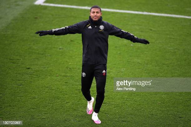 Rhian Brewster of Sheffield United warms up prior to the Premier League match between Leicester City and Sheffield United at The King Power Stadium...