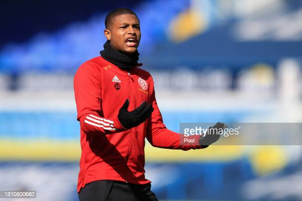 Rhian Brewster of Sheffield United warms up prior to the Premier League match between Leeds United and Sheffield United at Elland Road on April 03,...