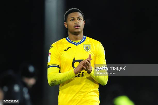 Rhian Brewster of Swansea City applauds the fans at the final whistle during the Sky Bet Championship match between Fulham and Swansea City at Craven...