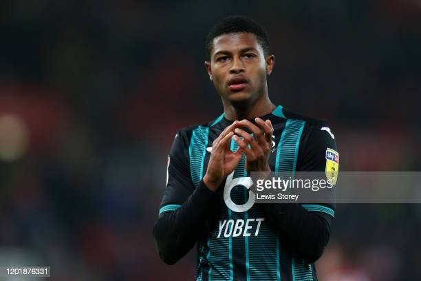 Rhian Brewster of Swansea City applauds the fans following the Sky Bet Championship match between Stoke City and Swansea City at Bet365 Stadium on...