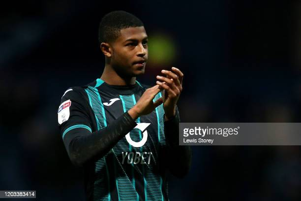 Rhian Brewster of Swansea City applauds towards the away fans during the Sky Bet Championship match between Preston North End and Swansea City at...
