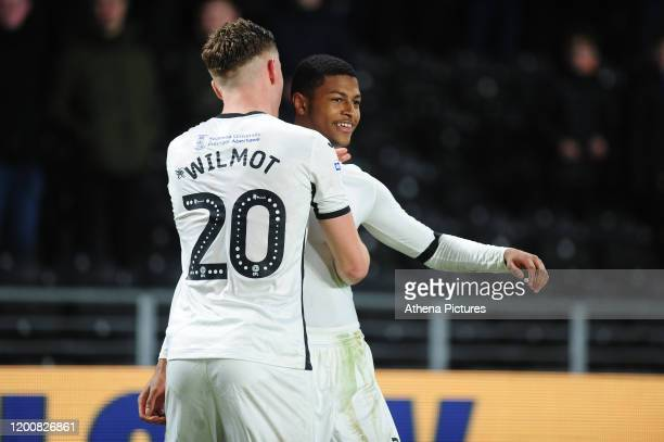 Rhian Brewster of Swansea City celebrates scoring his side's fourth goal during the Sky Bet Championship match between Hull City and Swansea City at...