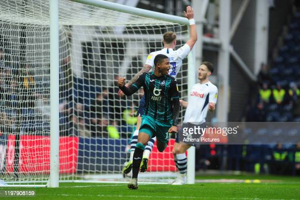 Rhian Brewster of Swansea City celebrates scoring his side's equalising goal to make the score 11 during the Sky Bet Championship match between...