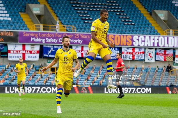 Rhian Brewster of Swansea City celebrates scoring his side's equalising goal to make the score 1-1 during the Sky Bet Championship match between...