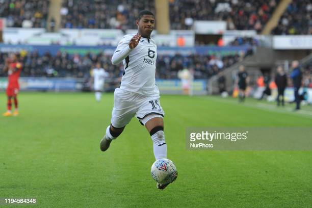 Rhian Brewster of Swansea City during the Sky Bet Championship match between Swansea City and Wigan Athletic at the Liberty Stadium on January 18...