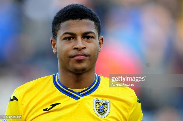 Rhian Brewster of Swansea City during the Sky Bet Championship match between Blackburn Rovers and Swansea City at Ewood Park on February 29 2020 in...