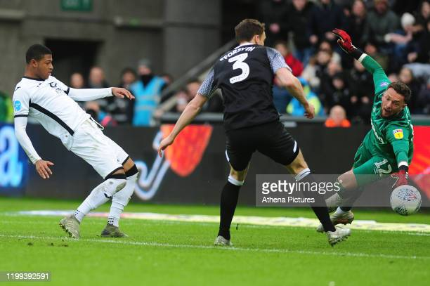 Rhian Brewster of Swansea City has a shot during the Sky Bet Championship match between Swansea City and Derby County at the Liberty Stadium on...