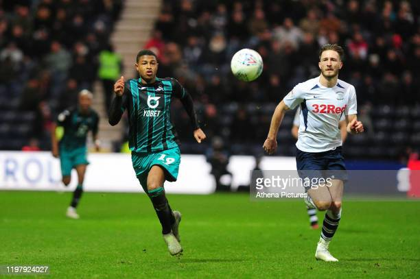Rhian Brewster of Swansea City in action during the Sky Bet Championship match between Preston North End and Swansea City at the Deepdale Stadium on...