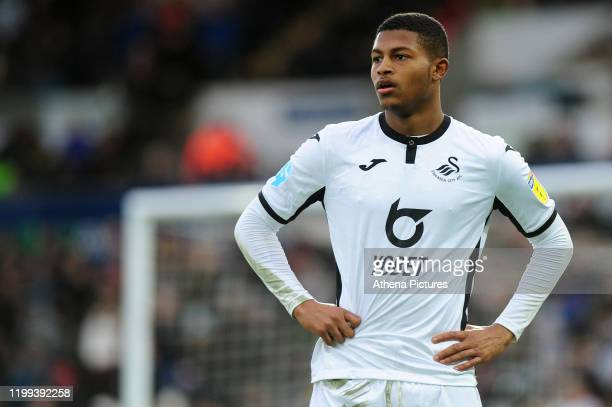 Rhian Brewster of Swansea City in action during the Sky Bet Championship match between Swansea City and Derby County at the Liberty Stadium on...