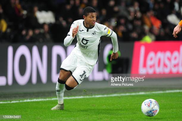 Rhian Brewster of Swansea City in action during the Sky Bet Championship match between Hull City and Swansea City at the KCOM Stadium on February 14...
