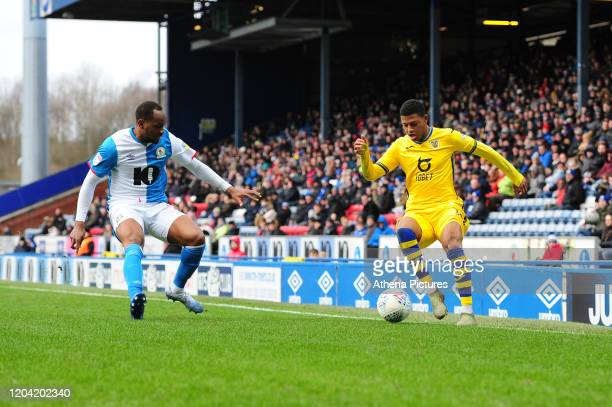Rhian Brewster of Swansea City in action during the Sky Bet Championship match between Blackburn Rovers and Swansea City at Ewood Park on February 29...