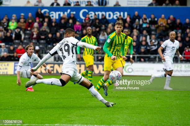 Rhian Brewster of Swansea City in action during the Sky Bet Championship match between Swansea City and West Bromwich Albion at the Liberty Stadium...