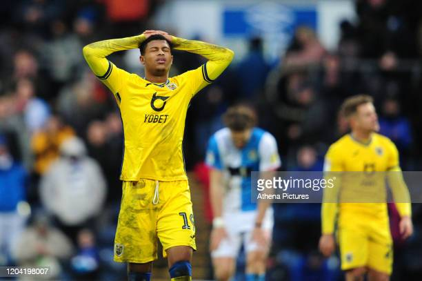Rhian Brewster of Swansea City looks dejected at full time during the Sky Bet Championship match between Blackburn Rovers and Swansea City at Ewood...