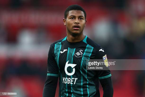 Rhian Brewster of Swansea CIty looks on during the Sky Bet Championship match between Stoke City and Swansea City at Bet365 Stadium on January 25,...