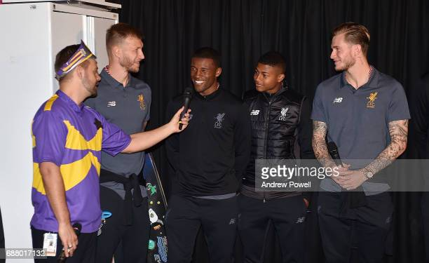 Rhian Brewster Ragnar Klavan Georginio Wijnaldum and Loris Karius of Liverpool during a visit to Sydney Children's Hospital on May 25 2017 in Sydney...