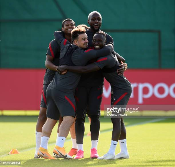 Rhian Brewster Xherdan Shaqiri Divock Origi and Naby Keita of Liverpool during a training session at Melwood Training Ground on September 18 2020 in...