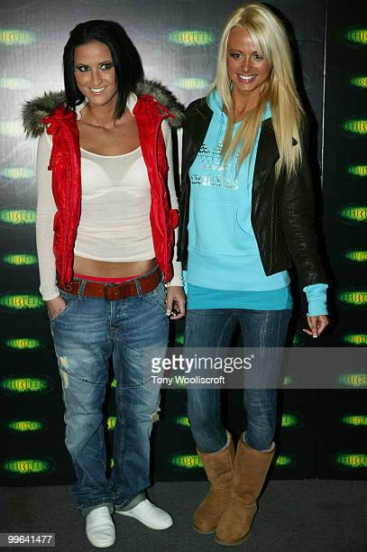 Rhian Sugden and guest attend the launch party for new ride THI3TEEN at Alton Towers on March 19 2010 in Alton England