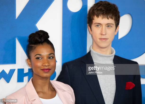 """Rhianna Dorris a d Angus Imrie attend a gala screening of """"The Kid Who Would Be King"""" held at Odeon Leicester Square on February 03, 2019 in London,..."""