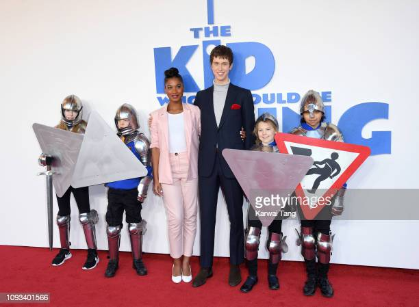 """Rhianna Dorris and Angus Imrie attend a gala screening of """"The Kid Who Would Be King"""" held at Odeon Leicester Square on February 3, 2019 in London,..."""