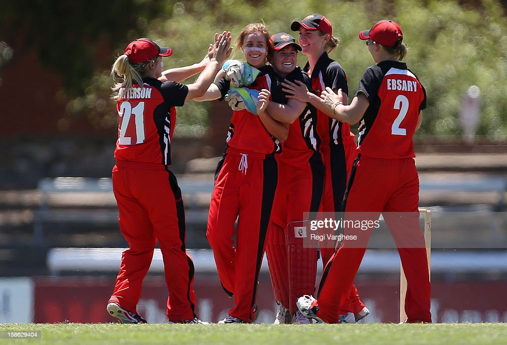 Rhianna Peate of the Scorpions celebrates a wicket during the WNCL match between the South Australia Scorpions and the New South Wales Breakers at Prospect Oval on December 22, 2012 in Adelaide, Australia.
