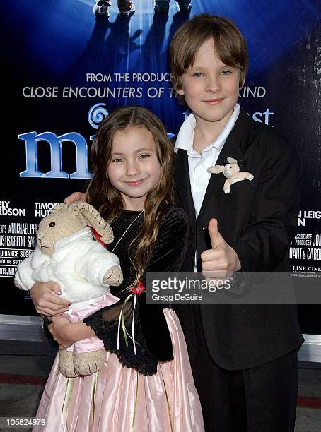 Rhiannon Leigh Wryn and Chris O'Neil during The Last Mimzy Los Angeles Premiere Arrivals at Mann Village Theatre in Westwood California United States