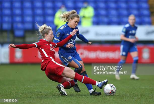 Rhiannon Roberts of Liverpool FC tackles Charlie Devlin of Leicester City during the Barclays FA Women's Championship match between Liverpool and...