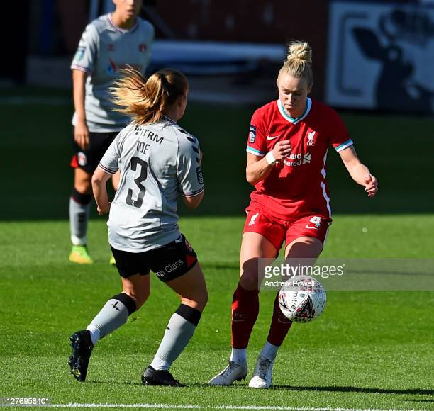 Rhiannon Roberts of Liverpool Women with Bethan Roe of Charlton Athletic Women during the FA Women's Championship match between Liverpool Women and...