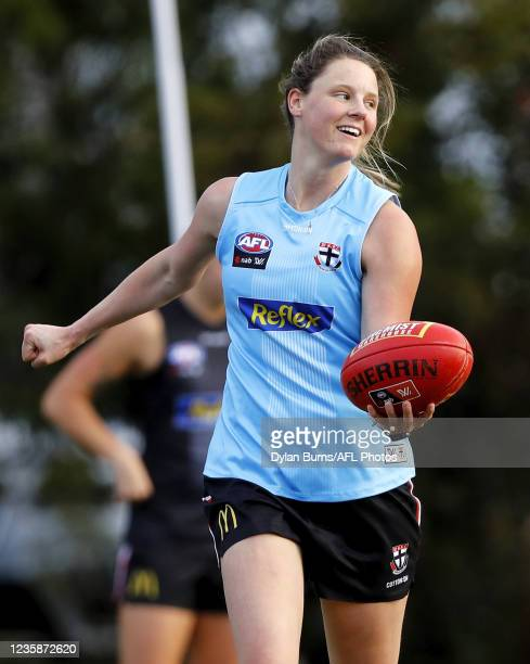 Rhiannon Watt of the Saints looks on during the St Kilda training session at RSEA Park on October 14, 2021 in Melbourne, Australia.