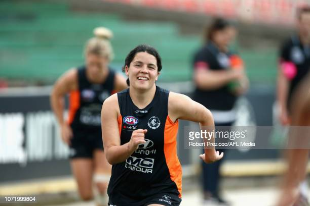 Rhiannon Watt runs during a Carlton Blues AFLW training session at Visy Park on December 12 2018 in Melbourne Australia