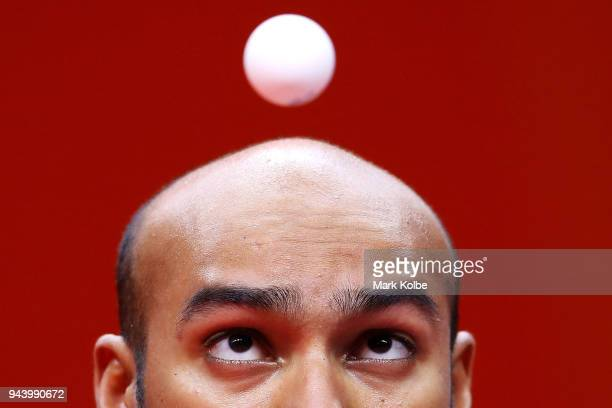 Rhikesh Taucoory of Mauritius serves during his Men's Singles Group 16 Game 1 Table Tennis match against Craig Howieson of Scotland on day six of the...