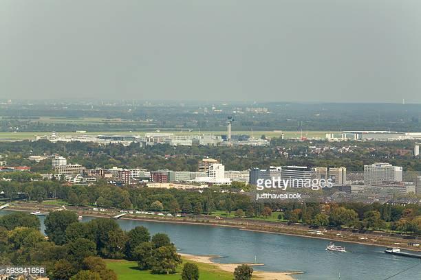 Rhine and airport Düsseldorf