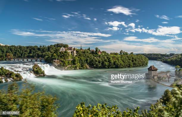 rhine falls (rheinfall) waterfalls, canton schaffhausen, switzerland, europe - rhine river stock pictures, royalty-free photos & images