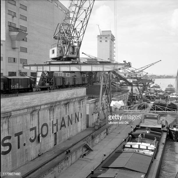 Rhine harbour Kleinhüningen 1953