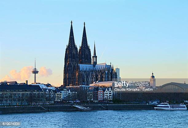 Rhine River Against Cologne Cathedral