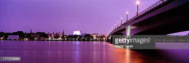 rhine river and bridge - bonn stock-fotos und bilder