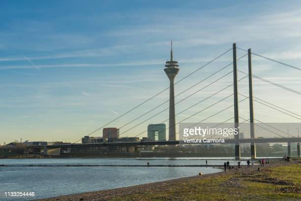 rhine river bank in düsseldorf, germany - düsseldorf stock pictures, royalty-free photos & images