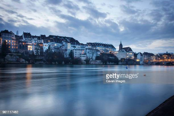 Rhine River in Basel, Switzerland at dusk