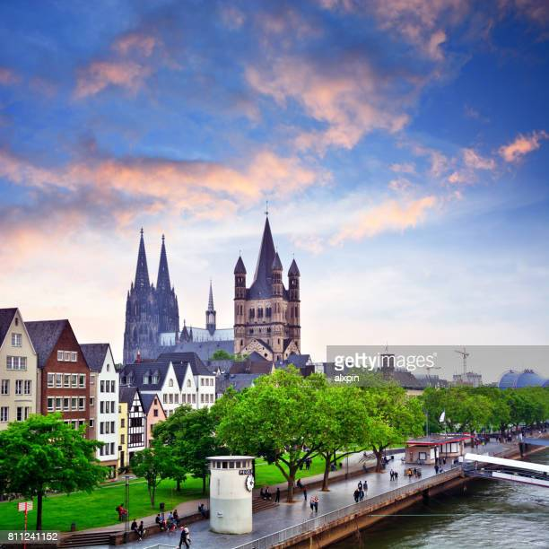 rhine river in cologne, germany - cologne stock pictures, royalty-free photos & images