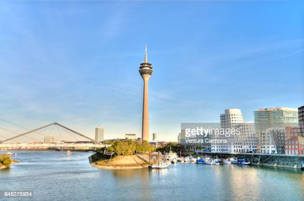 rhine tower in düsseldorf - düsseldorf stock pictures, royalty-free photos & images