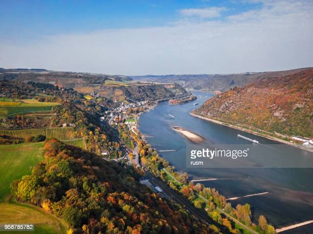 Rhine valley near Bacharach town in autumn, Rhineland-Palatinate, Germany