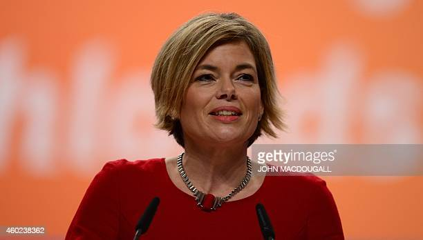 Rhineland Palatinate's CDU leader Julia Kloeckner addresses delegates during the Christian Democratic Union congress in Cologne western Germany on...