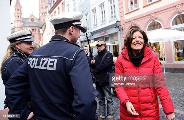 Rhineland-Palatinate Governor Malu Dreyer pictured during an election campaign rally on March 11, 2016 in Mainz, Germany. State elections scheduled...