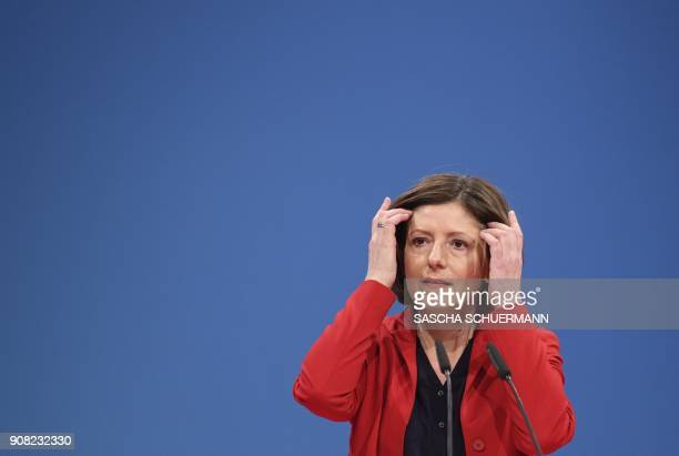 RhinelandPalatinate's State Premier Malu Dreyer delivers a speech on January 21 2018 in Bonn western Germany at the beginning of the SPD's...