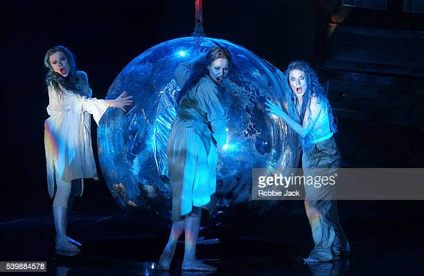 rhinemaidens in das rheingold - royal opera house london stock pictures, royalty-free photos & images