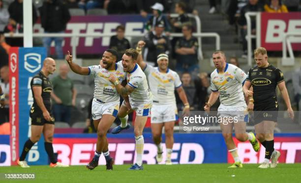 Rhinos player Kruise Leeming celebrates after scoring the extra time drop goal to win the match during the Betfred Super League match between Leeds...