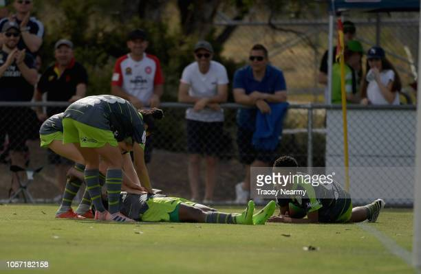 Rhoda Mulaudzi of Canberra United and Refiloe Jane of Canberra United celebrate their second goal during the round two WLeague match between Canberra...