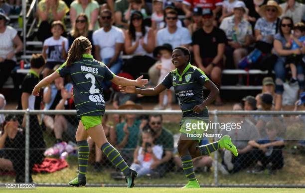 Rhoda Mulaudzi of Canberra United celebrates their second goal during the round two WLeague match between Canberra United and the Perth Glory at...